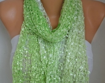 ON SALE --- Neon Pistachio Knitted Scarf, Wedding Shawl,Bridal Accessories,Bridesmaid Gift,Cowl Scarf, Gift Ideas For Her, Women Fashion Acc