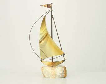 Vintage Brass Sailboat Sculpture DeMott, Brass Stone Sailboat Sculpture Signed