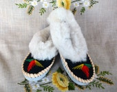 Sheepskin slippers Fur warm SIZE 8 womens slippers leather scuff Women slippers Birthday gift Leather embroidered moccasin Warm moccasins