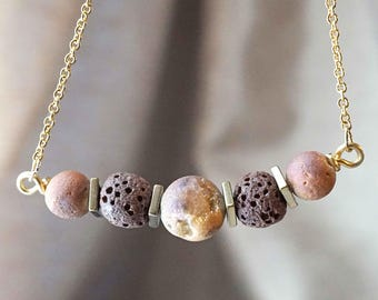 Peach Gold Aromatherapy Necklace Essential Oil Diffuser Necklace Agate Druzy Necklace