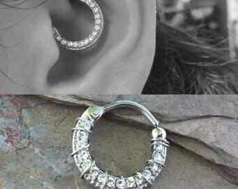 Daith Piercing Rook Earring Hoop Silver Clicker