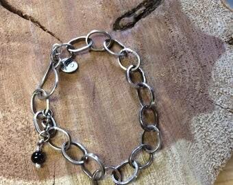 Sterling link bracelet, sterling silver soldered, blackened