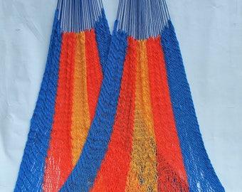 Classic Costa Rican Hammock - Blue, Orange & Gold