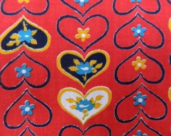 Vintage 1950s Fabric Remnant ... Hearts and Flowers Cotton Material ...  Novelty Print ... 3 1/2 yards