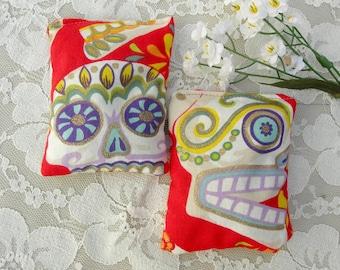 SUMMER SALE 2 Lavender Scented Sachets, skull & flower fabric, gold glitter, like new, vintage