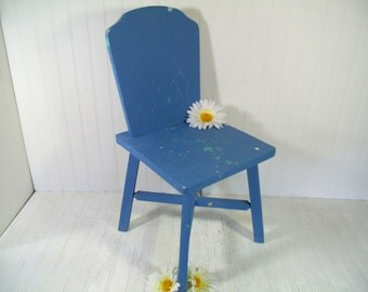 Cornflower Blue Small Chair Solid Wood Child's Chair Hand Crafted & Painted Toddler Time Out Seat; Old Chippy Paint Doll Display Blue Chair
