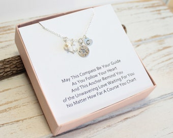 Customizable Sterling Silver Compass Initial Heart Necklace with Sentiment Card