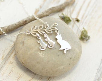 Sterling Silver Cat and Kitten Family Tree Necklace... Choose how many kittens hang from the branch