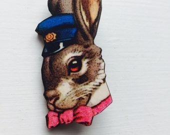 Easter Bunny Rabbit in Police Hat and Bowtie Brooch Animal Portrait Birthday Wooden Pin Gift for Stocking Filler Stuffer Jewellery Pin Colla
