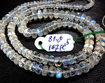 Rainbow Moonstone Faceted Rondelle Beads Strong Blue Fire  AAA High Quality Size 3MM To 6MM Approx-81Ct-147Pc  14'' Wholesale Price