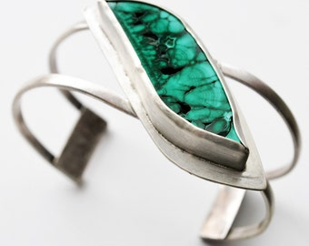 One of a Kind Malachite and Sterling Silver Cuff Bracelet