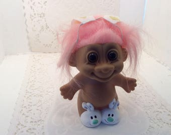 Pink hair troll doll, Russ, vintage trolls,5 inches high, Easter bunny troll