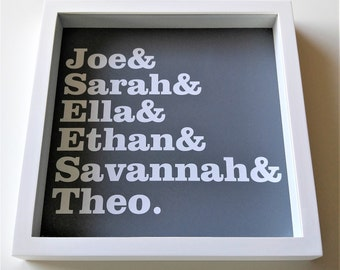 Personalized Family Name Frame Family Name Sign Kids Names New Family Gift Custom Frame Family Names Holiday Gift Hostess Gift New Home Gift