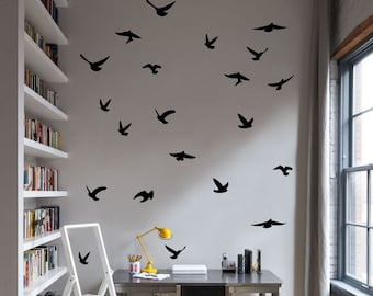 Flying Birds Silhouettes | Set of 23 | Vinyl Wall Decal Stickers | Trendy Home Decor | FREE SHIPPING