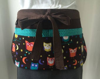 Utility Apron/Teacher Apron with 8 pockets and hook in owls brown orange yellow teal