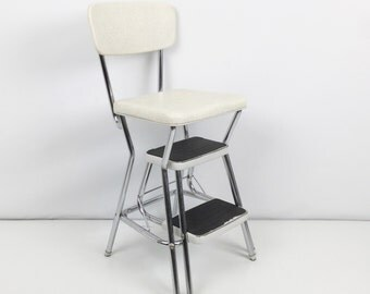 Vintage kitchen step stool Retro kitchen chair Cosco kitchen step stool chair
