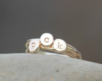 TINY INITIAL RING - Pebble Ring - Gold - Silver - Pink Gold Initial Pebble Ring - Initial Ring - Hand Stamped Stacking Ring