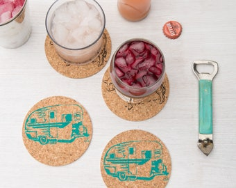 Coasters - Cork - Camper Trailer - Set Of Four - Happy Camper - Set of Four - Housewarming Gift