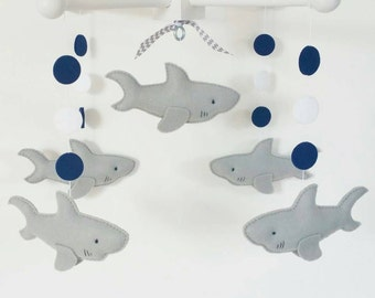 Baby Crib Mobile- Sharks Mobile- Gray ans navy blue Sharks-custom Made Mobile