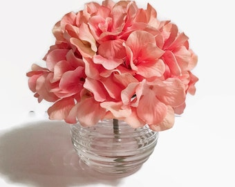 Peachy Pink Single Hydrangea In Acrylic Water, Hydrangea Arrangement, Home Decor, Small Arrangement, Peach Pink  Decor