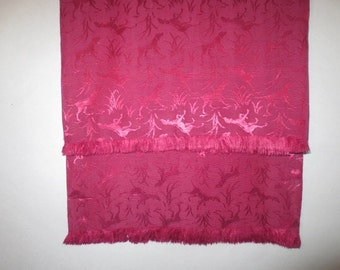 """Men's Vintage Rayon Neck Scarf // Hunting Dogs, Brocade, Rayon, Small Fringe...13"""" X 45"""""""