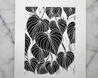 Original Hand Carved Arrowhead Vine Black and White Linocut Print