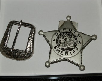 Vintage Silver 1950's Child's Western Belt Buckle and Tin Deputy Sheriff's Badge