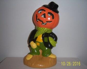 Vintage Ceramic Hand Crafted Scarecrow - Halloween Scarecrow - Pumpkin Head Scare Crow - Hand Painted Scare Crow - 1970s Scare Crow