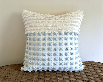 blue accent pillow cover FROSTED ROSE BUDS chenille cushion cover cottage chic shabby style ruffled rose vintage chenille pillow cover