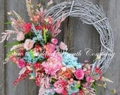 ON SALE Spring Wreath, Easter Wreath, Spring Floral, Elegant Spring Wreath, Designer Wreath, Country French Wreath, Cottage Wreath, Wedding