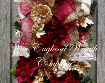FREE SHIP THRU 12/12/16, Christmas Swag, Christmas Wreath, Holiday Swag, Victorian Christmas, Designer Christmas Wreath, Elegant Holiday