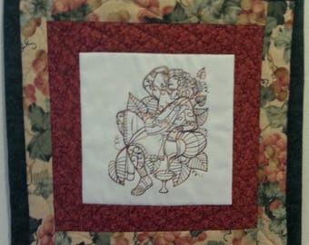 Mini Quilt Wall Hanging or Candlemat - Dionysus, God of Fertility ,Ecstasy and Lover of Peace  and Wine!