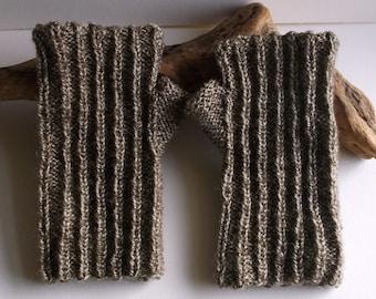 Hand knitted adult women or teen fully reversible wristwarmers / fingerless gloves. Brown tweed
