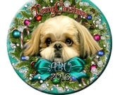 Shih Tzu Christmas Ornament Tiffany Blue Personalized Custom Photo Gift