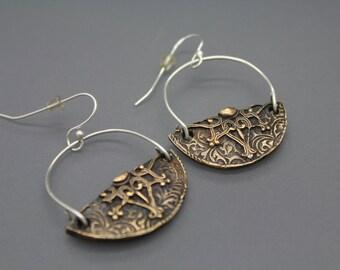 Semi Circle Earrings, Mixed Metal Earrings, Bronze Earrings, Deco Earrings, Unique Earrings, Swing Earring, Mixed Metal Jewelry, RTS