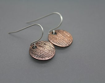 Copper Earrings, Circle Earrings, Textured Earrings, Mixed Metal Jewelry, Disc Earrings, Drop Earrings, Everyday Earrings, Antiqued Earrings