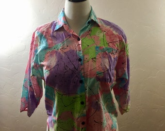 Vintage Blouse, 1980s Vintage, Splatter Paint, Pastel Blouse, 80s Button Down, Shoulder pads, Vintage Shirt, Women's Vintage, 80s Fashion