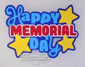 Premade Paper Piece Title Die Cut for Scrapbook Page Summer Memorial Day Handmade 44