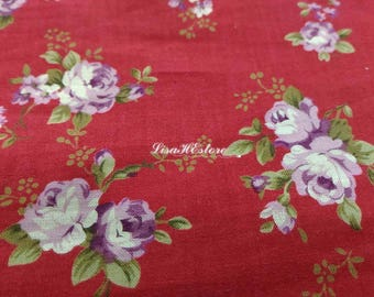 Small purple rose, red, 1/2 yard, pure cotton fabric