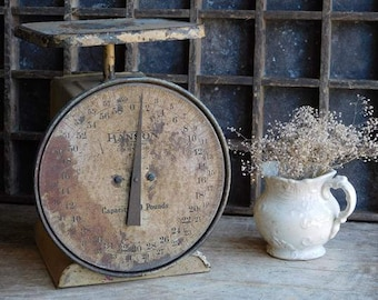 Vintage Tan Hanson Scale, Industrial Xlarge Scale, Rusty Primitive Decor