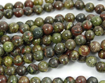 6mm Dragons Blood Jasper in Deep Red and Forrest Green -15.5 inch strand