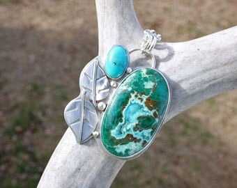 Chrysocolla Malachite Druzy Turquoise Sterling Silver Necklace