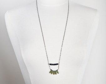 Dagger Necklace, Green Dagger Necklace, Blue Goldstone, Bohemian Jewelry, Boho, Minimalist, Bohemian Necklace, Green, Navy Blue Necklace,