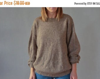 SALE Brown chunky Wool Sweater Vintage 80's crewneck wool sweater mens womens