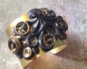 Steampunk Octopus Brass Cuff Bracelet