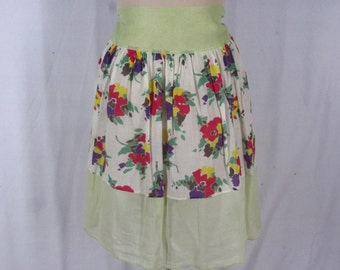 1950s Sheer Waist Apron Green Cotton Voile White Floral Band AS IS