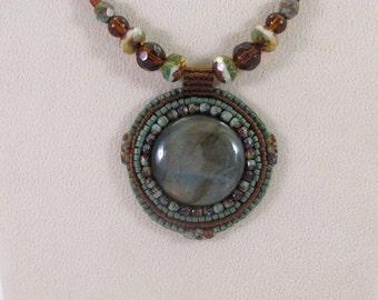 Round Labradorite Bead Embroidered Pendant