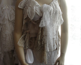 Lacey gypsy corset, romantic french chic, shabby clothing