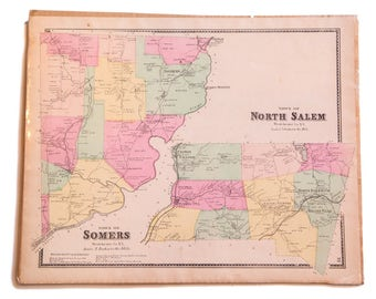 Antique Somers and North Salem NY Map