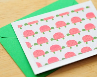 SALE-Turtle Mini Cards // Set of 4 // Blank Cards // Gift Card Envelopes // Enclosure Cards // Love Notes // Gift Wrapping // Scrapbooking